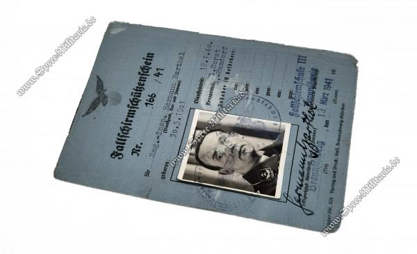 """Luftwaffe Fallschirmschützenschein """"Nr.166/41"""""""