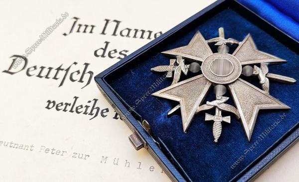 """Spanienkreuz in Silber m/Schwertern """"900"""" im Etui +Urkunden"""