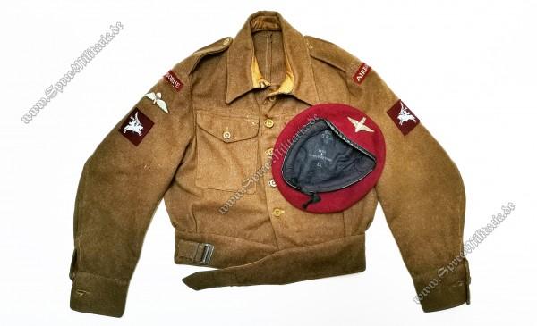Britische WWII Airborne Battledress Uniformjacke/Barett
