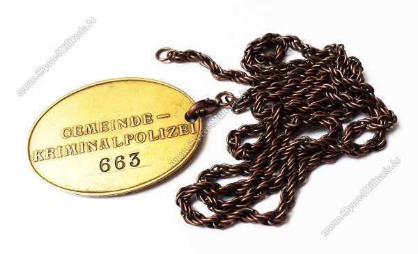 III.Reich Gemeinde-Kriminalpolizei Marke an Kette