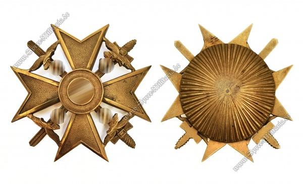 Spanienkreuz in Gold m/Schwertern und Sternschraube