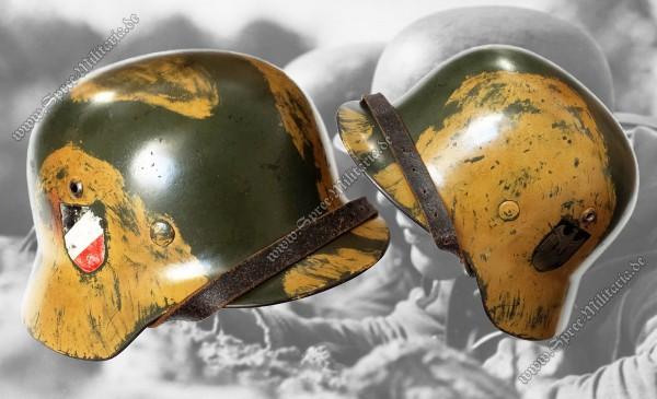 """Wehrmacht Doppelabzeichen Tarn Stahlhelm M35 """"SE64"""""""