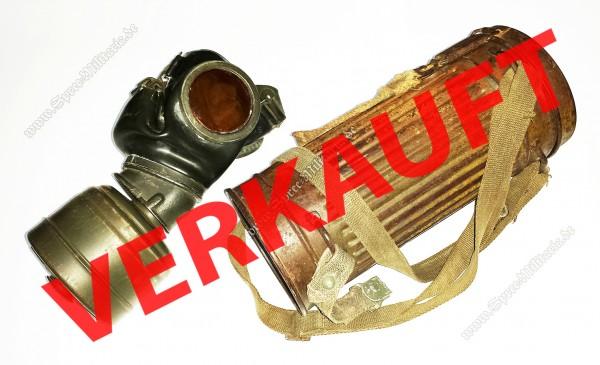 WH/W-SS Gasmaskenbüchse Getarnt +Maske