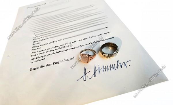 SS-Totenkopfring & Red Gold Ring w/Award Document
