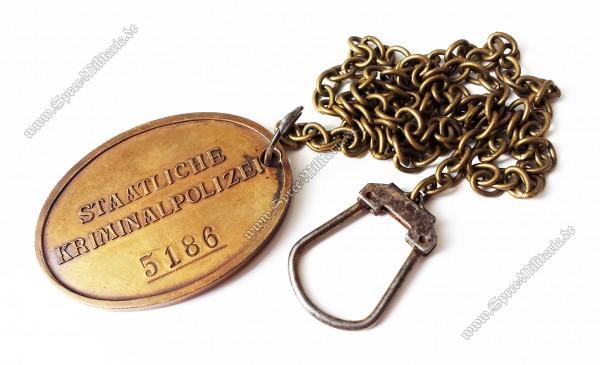 III.Reich Staatliche Kriminalpolizei Dienstmarke an Kette
