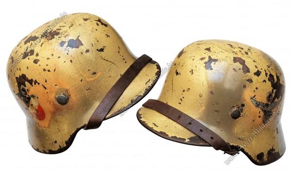 """Luftwaffe Doppelabzeichen Afrikakorps/Tarn Stahlhelm M35 """"N.S.64"""""""