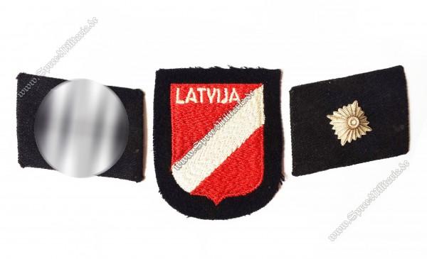 W-SS Kragenspiegel +Ärmelabzeichen Latvija