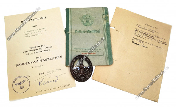 Bronce Anti-Partisan Badge/Bandenkampfabzeichen +Award Documents