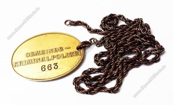 III.Reich Gemeinde-Kriminalpolizei Dienstmarke an Kette