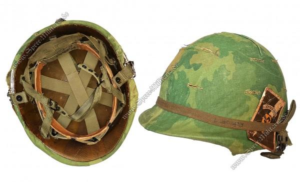 US-Army Vietnam Ära Airborne Stahlhelm M1-C/Tarnüberzug
